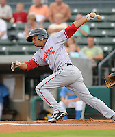 Infielder Wil Ortiz (8) of the Potomac Nationals in a game against the Myrtle Beach Pelicans on Aug. 7, 2010, at BB&T Coastal Field in Myrtle Beach, S.C. Photo by: Tom Priddy/Four Seam Images