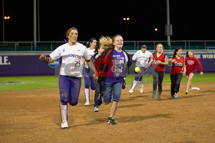 The University of Washington softball team defeats Cal with a walk-off home run by Shawna Wright in the bottom of the ninth inning to win 9-8 on Friday May 10, 2013 (Photo by Scott Eklund /Red Box Pictures)