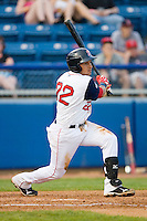 Ryan Dent #22 of the Salem Red Sox follows through on his swing against the Kinston Indians at Lewis-Gale Field May 1, 2010, in Winston-Salem, North Carolina.  Photo by Brian Westerholt / Four Seam Images