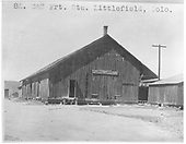 C&amp;S freight house at Leadville after abandonment.  This print is marked &quot;8A. C&amp;S Frt. Sta. Littlefield, Colo.&quot;, but it's Leadville.<br /> C&amp;S  Leadville, CO
