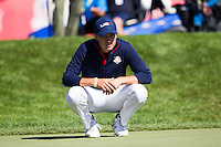 Jordan Spieth (Team USA) on the 18th green during the Saturday morning Foursomes at the Ryder Cup, Hazeltine national Golf Club, Chaska, Minnesota, USA.  01/10/2016<br /> Picture: Golffile | Fran Caffrey<br /> <br /> <br /> All photo usage must carry mandatory copyright credit (&copy; Golffile | Fran Caffrey)