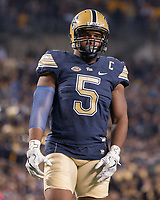 Pitt defensive end Ejuan Price. The Pitt Panthers defeated the Marshall Thundering Herd 43-27 on October 1, 2016 at Heinz Field in Pittsburgh, Pennsylvania.