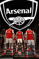 The new Arsenal home kit on display during the Arsenal FC 2019-20 Adidas Home Kit Launch at the Armoury Shop, Emirates Stadium on 1st July 2019