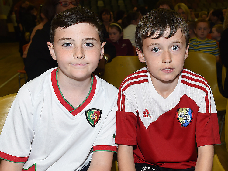 David Magee and Jamie O'Callaghan pictured at Ardee Celtic underage awards night in Ardee Parish Centre. Photo:Colin Bell/pressphotos.ie
