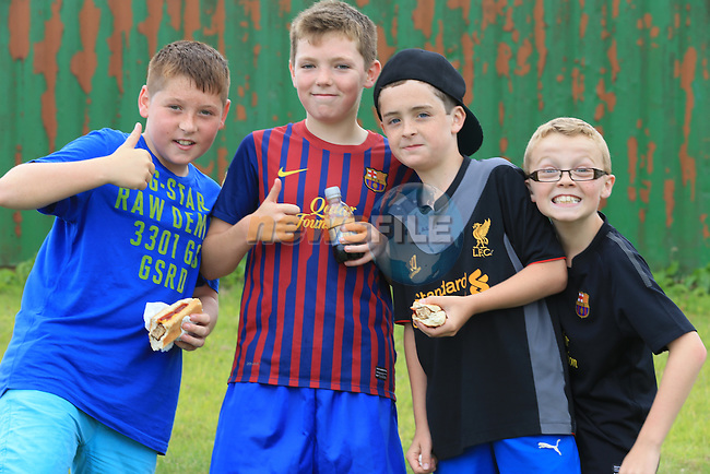 Ross Maher, Tighe Redmond, Andrew Ludlow and Ciaran Murphy<br /> at the East Meath United family fun day.<br /> Picture:  Fran Caffrey / www.newsfile.ie