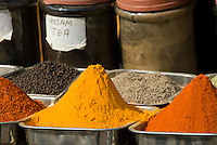 Indian spices and teas for sale for the tourist trade in Pahar Ganj, New Delhi, India