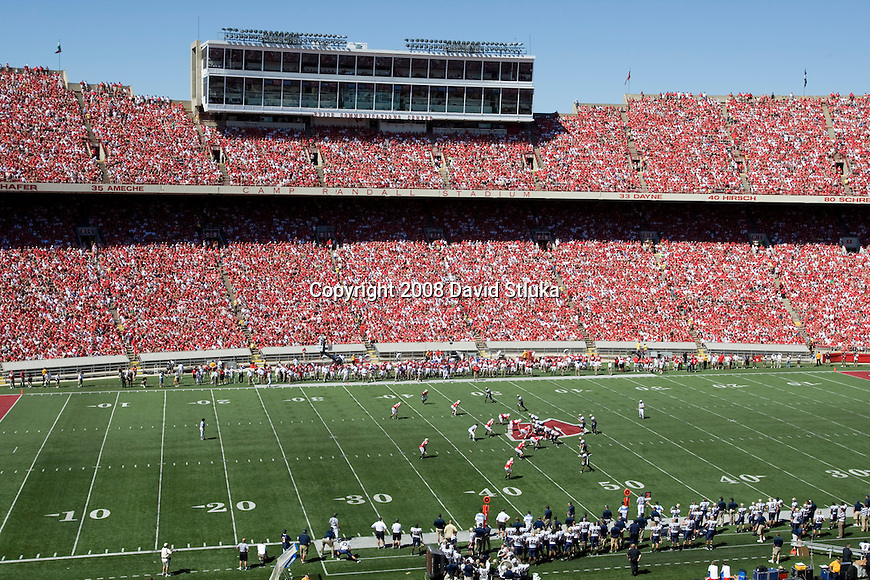 MADISON, WI - AUGUST 30: A general view of  Camp Randall Stadium during the Wisconsin Badgers  game against the Akron Zips at Camp Randall Stadium on August 30, 2008 in Madison, Wisconsin. The Badgers beat the Zips 38-17. (Photo by David Stluka)