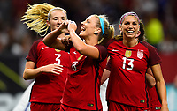 New Orleans, LA - Thursday October 19, 2017: Julie Ertz scores a goal and celebrates during an International friendly match between the Women's National teams of the United States (USA) and South Korea (KOR) at Mercedes Benz Superdome.