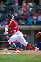 J.D. Salmon-Williams (8) of the Billings Mustangs follows through on his swing against the Missoula Osprey at Dehler Park on August 20, 2017 in Billings, Montana.  The Osprey defeated the Mustangs 6-4.  (Brian Westerholt/Four Seam Images)