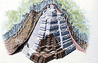 "World Civilization:  El Mirador--""A drawing peels away overburden to reveal a pyramid and its underlying structure""."