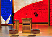 """Empty lectern prior to the opening session of the 2012 Republican National Convention in Tampa Bay, Florida on Monday, August 27, 2012.  Due to the effects of Hurricane Isaac, it was immediately recessed """"subject to the call of the chair""""..Credit: Ron Sachs / CNP.(RESTRICTION: NO New York or New Jersey Newspapers or newspapers within a 75 mile radius of New York City)"""