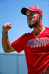 SURPRISE, AZ - MAY 12: Arnold Kokulewski of the Columbus State Cougars celebrates a match win against Flavio Matteoli of the Barry Buccaneers during the Division II Men's Tennis Championship held at the Surprise Tennis & Racquet Club on May 12, 2018 in Surprise, Arizona. (Photo by Jack Dempsey/NCAA Photos via Getty Images)
