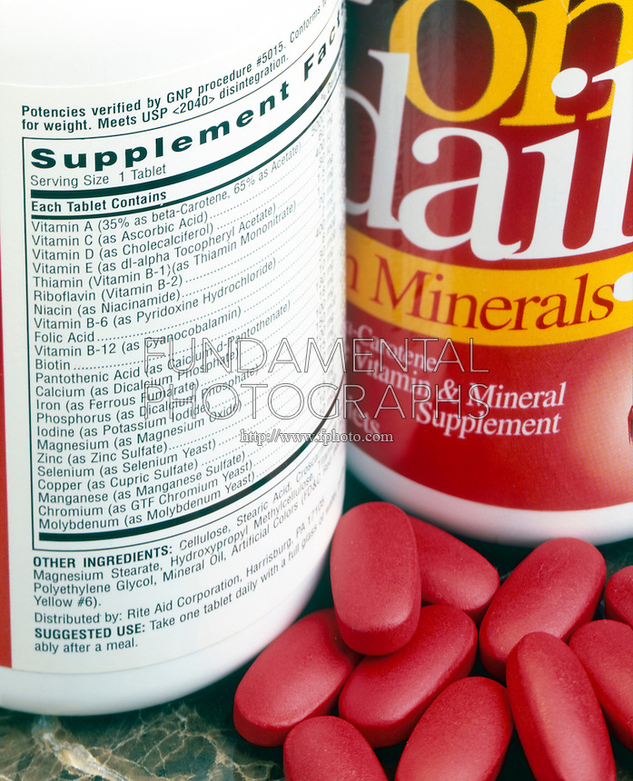 VITAMIN &amp; MINERAL PILL SUPPLEMENT<br /> Label Displays Vitamins, Minerals &amp; Ingredients<br /> Label displays vitamins, minerals and other ingredients.