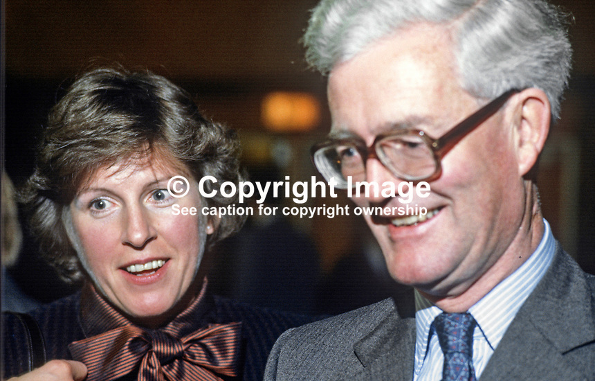 Secretary of State for N Ireland, Douglas Hurd, MP, Conservative Party, UK, with wife, Judy Hurd, at 1984 annual conference, Brighton. 19840151DH1.<br /> <br /> Copyright Image from Victor Patterson, 54 Dorchester Park, <br /> Belfast, UK, BT9 6RJ<br /> <br /> t1: +44 28 9066 1296 (from Rep of Ireland 048 9066 1296)<br /> t2: +44 28 9002 2446 (from Rep of Ireland 048 9002 2446)<br /> m: +44 7802 353836<br /> <br /> e1: victorpatterson@me.com<br /> e2: victorpatterson@gmail.com<br /> <br /> www.victorpatterson.com<br /> <br /> Please see my Terms and Conditions of Use at www.victorpatterson.com. It is IMPORTANT that you familiarise yourself with them.<br /> <br /> Images used on the Internet must be visibly watermarked i.e. &copy; Victor Patterson within the body of the image and copyright metadata must not be deleted. Images used on the Internet have a size restriction of 4kbs and will be chargeable at current NUJ rates unless advised otherwise.<br /> <br /> This image is only available for the use of the download recipient i.e. television station, newspaper, magazine, book publisher, etc, and must not be passed on to any third party. It is also downloaded on condition that each and every usage is notified within 7 days to victorpatterson@me.com<br /> <br /> The right of Victor Patterson to be identified as the author is asserted in accordance with The Copyright Designs And Patents Act (1988).