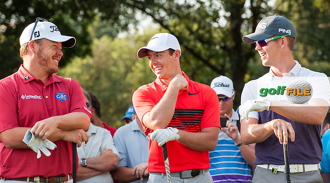 George Coetzee (RSA), Rory McIlroy (NIR) and Brandon Stone (RSA) during the 1st round of the BMW SA Openhosted by the City of Ekurhulemi, Gauteng, South Africa. 12/01/2017<br /> Picture: Golffile<br /> <br /> <br /> All photo usage must carry mandatory copyright credit (&copy; Golffile) Picture: Golffile | Tyrone Winfield