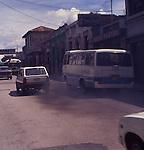 Traffic exhaust pollution Guatemala City, Guatemala, central America,
