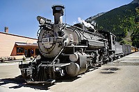 Durango-Silverton Train after arrival in Silverton, Colorado