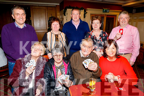 Paddy Mahony from Cullen, Co Cork celebrating his 100th birthday which is on 25th December with a game of cards with his friends in the Riverisland Hotel in Castleisland on Sunday December 22nd,<br /> Seated l to r: Marie Murphy, Betty McGain, Paddy Mahony and Siobhan Kelliher.<br /> Back l to r: Noel Mahoney, Bridie and Gene Guerin, Kathleen O'Mahony and John Kelliher.