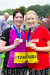 Kilgarvan ladies Elaine Kelleher and Sinead Healy  at the end of the Killarney Run half marathon in the Gleneagle Hotel on Saturday