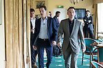 © Joel Goodman - 07973 332324 . 01/05/2015 . Manchester , UK . Nick Clegg and John Leech arrive at a Liberal Democrat party rally at Chorlton-cum-Hardy Golf Club . Liberal Democrat party leader Nick Clegg visits the constituency of Manchester Withington to deliver a speech on the NHS and campaign with local candidate John Leech . Photo credit : Joel Goodman