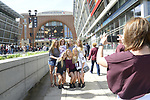 DALLAS, TX - APRIL 2: Fans take pictures outside before South Carolina takes on Mississippi State during the 2017 Women's Final Four at American Airlines Center on March 31, 2017 in Dallas, Texas. (Photo by Evert Nelson/NCAA Photos via Getty Images)