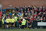 The New Saints 4 Bohemians 0, 20/07/2010. Park Hall Stadium, Champions League 2nd qualifying round 2nd leg. Supporters of Irish club Bohemians cheering their team onto the filed after half-time at Park Hall Stadium, Oswestry during their team's Champions League 2nd qualifying round 2nd leg game away to The New Saints. Despite leading 1-0 from the first leg, the Dublin club went out following their 4-0 defeat by the Welsh champions. The match was the first-ever Champions League match in the UK played on an artificial pitch and was staged at the Welsh Premier League's ground which was located over the border in England. Photo by Colin McPherson.