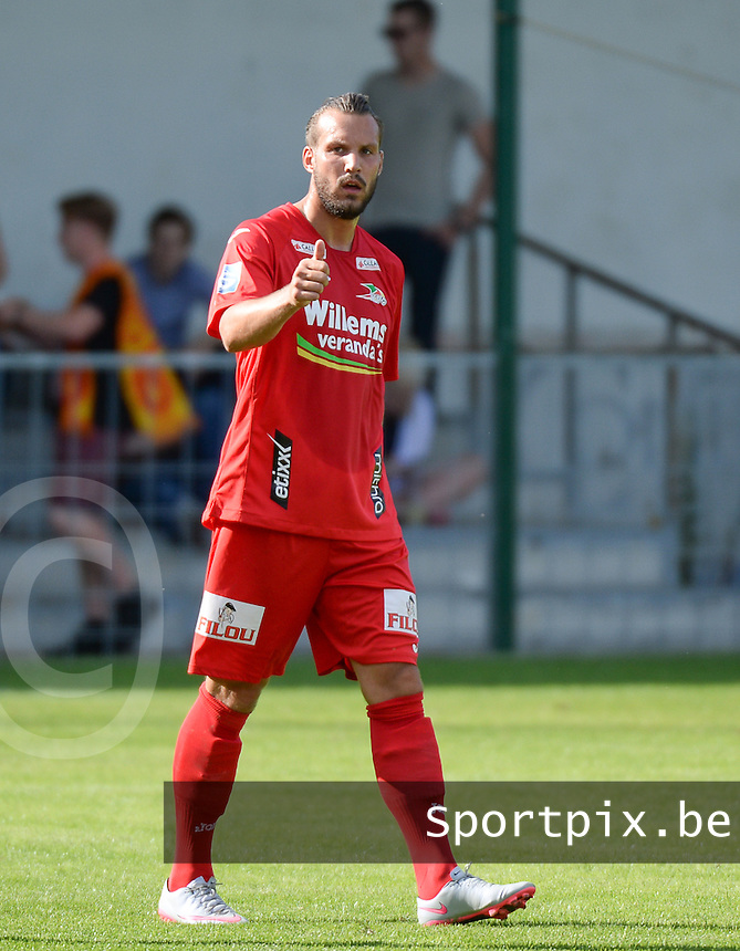 20150627 - INGELMUNSTER , BELGIUM : Oostende's Mathieu Cornet pictured during a friendly match between Belgian first division team KV Oostende and Belgian fourth division soccer team OMS Ingelmunster , during the preparations for the 2015-2016 season, Saturday 27th June 2015 in Ingelmunster. PHOTO DAVID CATRY