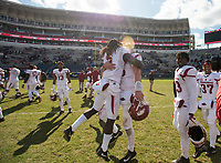 Hawgs Illustrated/BEN GOFF <br /> Arkansas players celebrate after defeating Ole Miss Saturday, Oct. 28, 2017, at Vaught-Hemingway Stadium in Oxford, Miss.