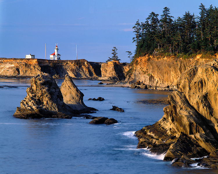 Evening light on Cape Arago Lighthouse near Shore Acres State Park, OR