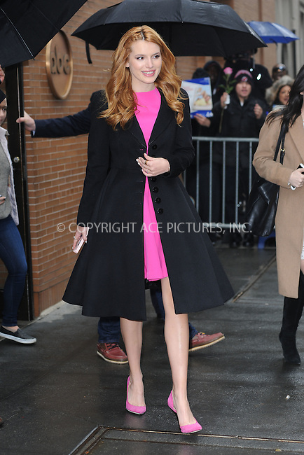 WWW.ACEPIXS.COM<br /> March 26, 2015 New York City<br /> <br /> Bella Thorne leaves a taping of an appearance on 'The View' on March 26, 2015 in New York City.<br /> <br /> Please byline: Kristin Callahan/AcePictures<br /> <br /> ACEPIXS.COM<br /> <br /> Tel: (646) 769 0430<br /> e-mail: info@acepixs.com<br /> web: http://www.acepixs.com