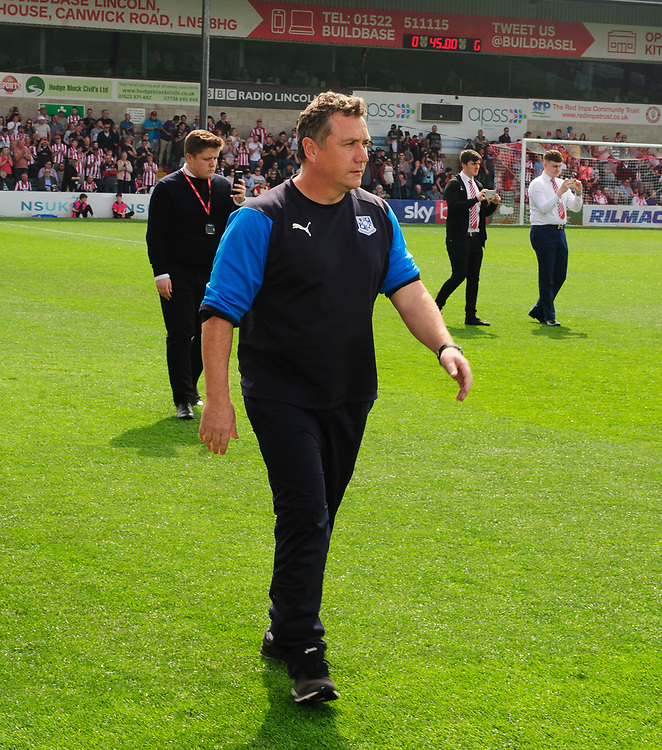 Tranmere Rovers manager Micky Mellon<br /> <br /> Photographer Andrew Vaughan/CameraSport<br /> <br /> The EFL Sky Bet League Two - Lincoln City v Tranmere Rovers - Monday 22nd April 2019 - Sincil Bank - Lincoln<br /> <br /> World Copyright © 2019 CameraSport. All rights reserved. 43 Linden Ave. Countesthorpe. Leicester. England. LE8 5PG - Tel: +44 (0) 116 277 4147 - admin@camerasport.com - www.camerasport.com