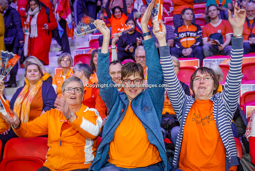 The Hague, The Netherlands, Februari 7, 2020,    Sportcampus, FedCup  Netherlands -  Balarus, Dutch fans<br /> Photo: Tennisimages/Henk Koster