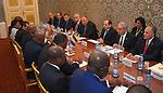 Egyptian President Abdel Fattah al-Sisi meets with Gabon's President Ali Bongo Ondimba in Libreville on August 16, 2017. Photo by Egyptian President Office