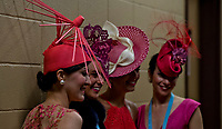 LOUISVILLE, KY - MAY 05: Women pose for a photo on Kentucky Oaks Day at Churchill Downs on May 5, 2017 in Louisville, Kentucky. (Photo by Douglas DeFelice/Eclipse Sportswire/Getty Images)