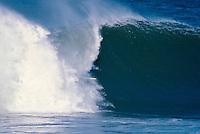 Wayne Lynch (AUS) surfing Mundaka rivermouth during an epic swell in November 1989. Mundaka, Basque Country, Spain. Photo: joliphotos.com