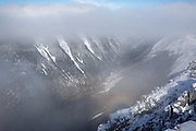 Brocken Spectre in Hellgate Ravine from the summit of Bondcliff in the Pemigewasset Wilderness of New Hampshire USA during the winter months.