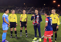 Boyds, MD - Friday Sept. 30, 2016: Christen Press, Josh Brunais, Ali Krieger prior to a National Women's Soccer League (NWSL) semi-finals match between the Washington Spirit and the Chicago Red Stars at Maureen Hendricks Field, Maryland SoccerPlex. The Washington Spirit won 2-1 in overtime.