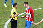 Atletico de Madrid's Fernando Torres have words with the spanish referee Jesus Gil Manzano during La Liga match. March 19,2017. (ALTERPHOTOS/Acero)