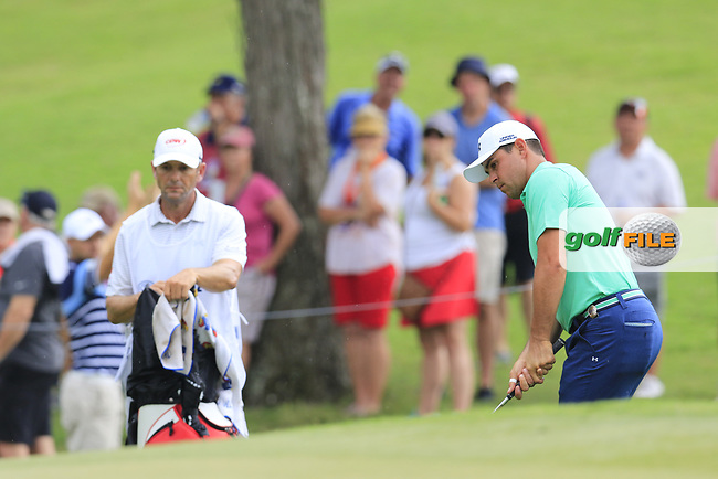 Gary Woodland (USA) duffs his chip onto the 15th green during Friday's Round 2 of the 2017 PGA Championship held at Quail Hollow Golf Club, Charlotte, North Carolina, USA. 11th August 2017.<br /> Picture: Eoin Clarke | Golffile<br /> <br /> <br /> All photos usage must carry mandatory copyright credit (&copy; Golffile | Eoin Clarke)