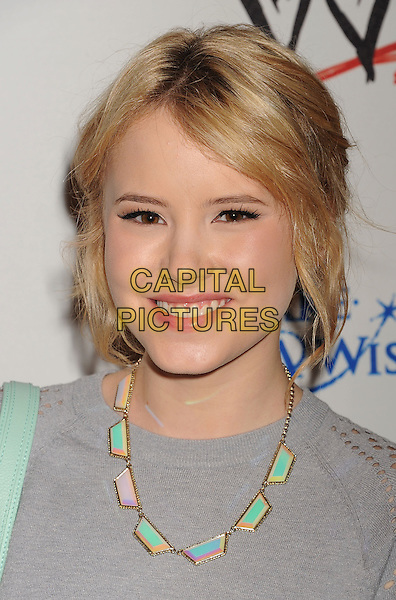 Taylor Spreitler<br /> WWE &amp; E! Entertainment's &quot;SuperStars For Hope&quot; supporting Make-A-Wish at The Beverly Hills Hotel in Beverly Hills, CA., USA.<br /> August 15th, 2013<br /> headshot portrait turquoise green necklace grey gray top <br /> CAP/ROT/TM<br /> &copy;Tony Michaels/Roth Stock/Capital Pictures