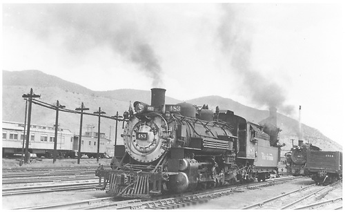 3/4 fireman side view of K-36 #483 with #482 in background.  Locomotive being used for Monarch turn.<br /> D&amp;RGW  Salida, CO  7/18/1953