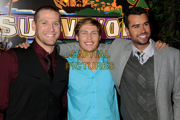 "CHASE RICE,JUDSON BIRZA (aka. ""Fabio)  & MATTHEW SASH LENAHAN .""Survivor: Nicaragua"" Finale & Reunion held at CBS Television City, Los Angeles, California, USA..December 19th, 2010.half length black waistcoat red maroon burgundy shirt blue turquoise stubble facial hair grey gray arm over shoulder .CAP/ADM/BP.©Byron Purvis/AdMedia/Capital Pictures."