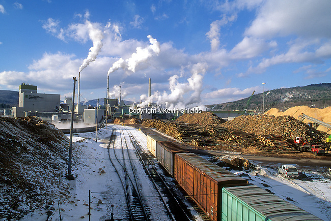 Paper mill in the Winter in Rumford, Maine, USA