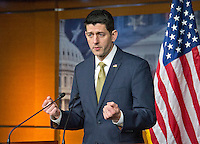 The Speaker of the United States House of Representatives Paul Ryan (Republican of Wisconsin) holds his weekly press briefing in the US Capitol in Washington, DC on Thursday, March 3, 2016. Photo Credit: Ron Sachs/CNP/AdMedia