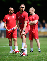 From left, Lincoln United manager Sam Wilkinson, Stuart Reddington and Luke Treadwell during the pre-match warm-up <br /> <br /> Photographer Chris Vaughan/CameraSport<br /> <br /> Football - Pre-Season Friendly - Lincoln United v Lincoln City - Saturday 8th July 2017 - Sun Hat Villas Stadium - Lincoln<br /> <br /> World Copyright &copy; 2017 CameraSport. All rights reserved. 43 Linden Ave. Countesthorpe. Leicester. England. LE8 5PG - Tel: +44 (0) 116 277 4147 - admin@camerasport.com - www.camerasport.com