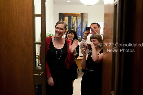 People react as United States President Barack Obama walks by on his way to address the Australian Parliament at Parliament House in Canberra, Australia, November 17, 2011. .Mandatory Credit: Pete Souza - White House via CNP