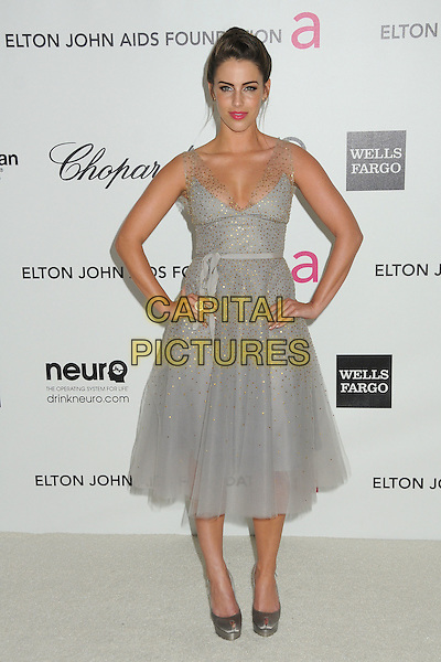 Jessica Lowndes.20th Annual Elton John Academy Awards Viewing Party held at West Hollywood Park, West Hollywood, California, USA..February 26th, 2012.oscars full length blue grey gray sheer beads beaded hands on hip dress.CAP/ADM/BP.©Byron Purvis/AdMedia/Capital Pictures.