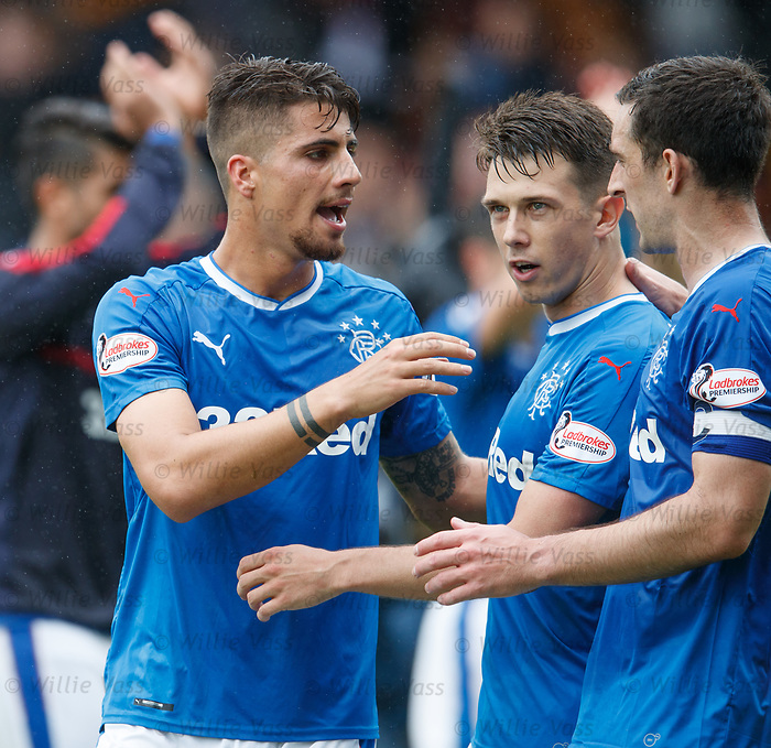 Ryan Jack congratulated at full time by Fabio Cardoso and Lee Wallace