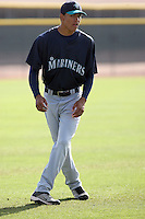 Jose Vicente Campos #26 of the Seattle Mariners participates in spring training workouts at the Mariners minor league complex on March 19, 2011  in Peoria, Arizona. .Photo by:  Bill Mitchell/Four Seam Images.