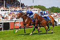 Winner of The British Stallion Studs EBF Cathedral Stakes (Listed)(Class 1), Eqtiraan ridden by Jim Crowley and trained by Richard Hannon  during Father's Day Racing at Salisbury Racecourse on 18th June 2017